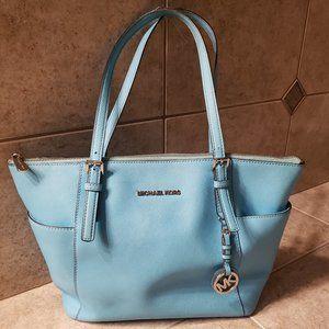 Rare Michael Kors Turquoise Blue Tote Bag